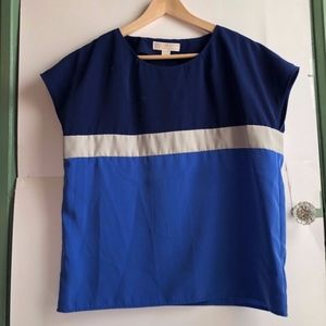 MICHAEL KORS Navy Blue Colorblock Short Sleeve Top
